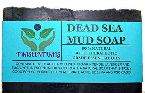 Dead Sea Mud Soap Bar Made With Frankincense Lavender  Eucalyptus Essential Oils 100% Natural Contains Activated Charcoal Use on Face or Body to Help…