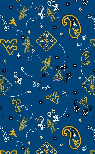 WEST VIRGINIA COTTON FABRIC-WVU COTTON FABRIC BY SYKEL (Stores In West Virginia)
