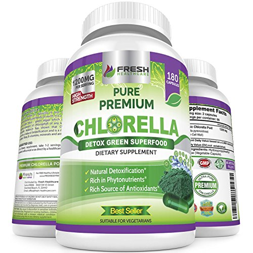 Organic Chlorella Capsules 100% Vegetarian – 180 Pure Vegan Powder Capsules – No.1 Source of Chlorophyll & CGF-1200mg Natural Detox Superfood - Rich in B Vitamins, Minerals & Protein-Cracked Cell (Cracked Wall)