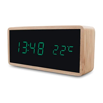 Amazon.com: Wooden Alarm Night Light Clock LED Display Mirror Temperature Digital Watch Electronic Watch Table Sound Control Digital Desktop: Home Audio & ...