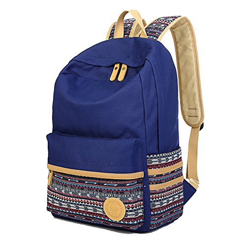 Artone Canvas Tribal Stripes Travel Daypack Campus Backpack With Crossbody Bag And Pencil Case Auqa Blue