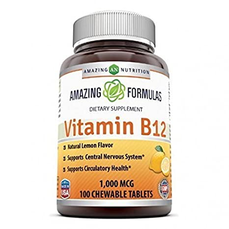 Amazing Nutrition Vitamin B12 Dietary Supplement - 1000 mcg, 100 Tablets - Supports Nervous System