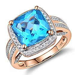 Rose Gold Blue Topaz Diamond Ring