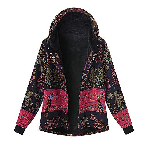 Womens Winter Vintage Print Hooded Coat Clearance Plus Size,Warm Loose Cotton Fleece Thicken Zipper Outwear M-5XL (coat-vintage, Large)