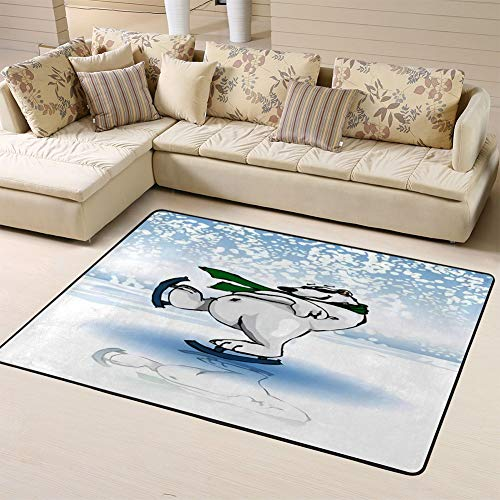 Area Rug Non-Slip Backing Floor Carpet Polar Bear Ice Skating On Winter Rink in Festive Season Snowfor Living Room Bedroom Kids Room 60