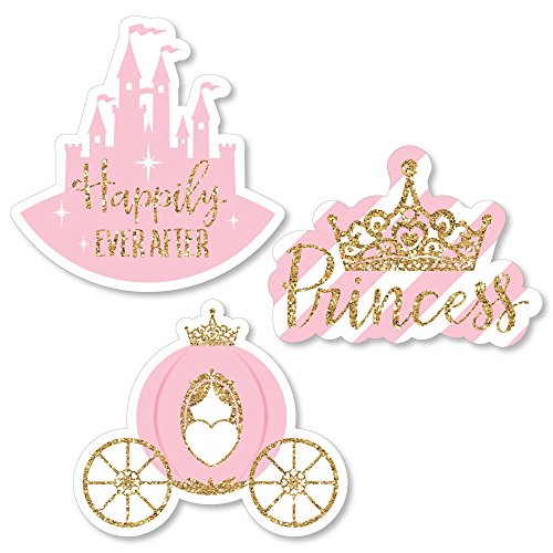Big Dot of Happiness Little Princess Crown - DIY Shaped Pink and Gold Princess Baby Shower or Birthday Party Cut-Outs - 24 Count ()