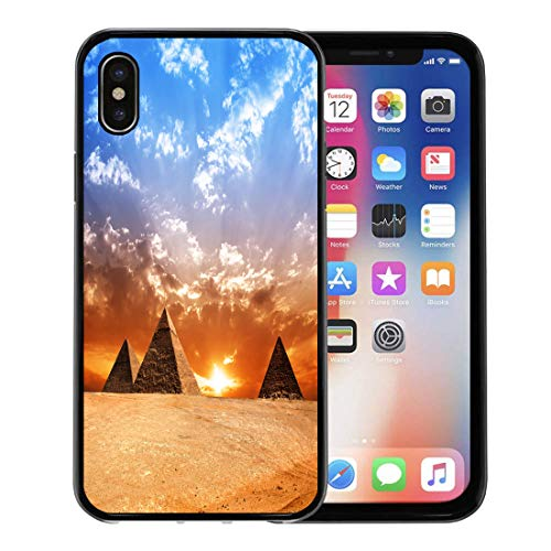 Emvency Phone Case for Apple iPhone Xs case,Egyptian Egypt Pyramid Historic Buildings Panorama Sunset Monument History for iPhone X Case,Rubber Border Protective Case,Black