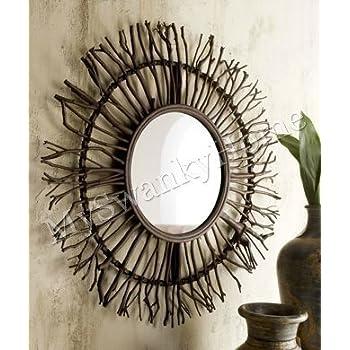 Extra Large Birch Branch Wood Sunburst Wall Mirror