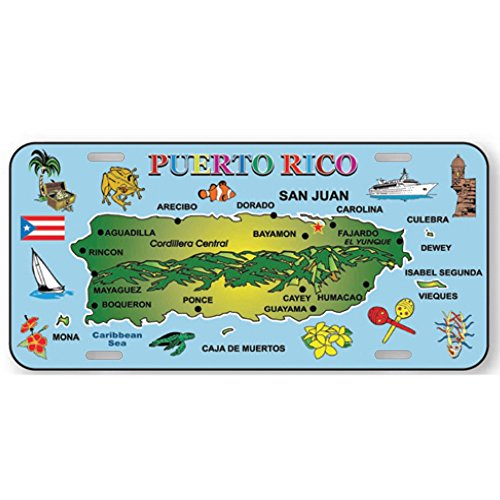 Rockin Gear License Plate Puerto Rico map Souvenir and Gift 6 by 12 auto Metal Ocean Blue Map Official Car Sized License Plate Puerto Rico