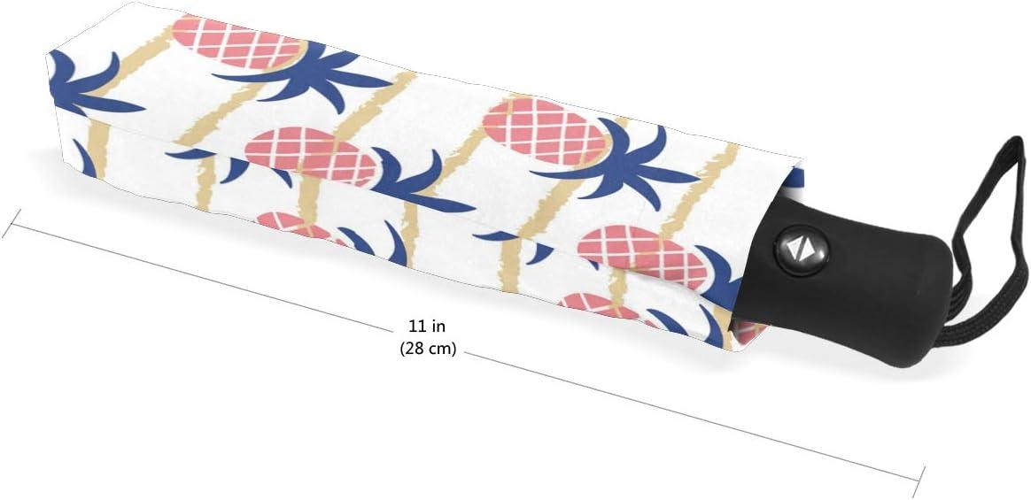 Pink Water Pineapple Tree fashion print cute Windproof automatic tri-fold umbrella sun UV protection Sun umbrella