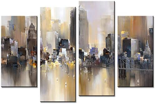 Abstract Canvas Painting New York Colorful City Landscape Picture Printed on Canvas Giclee Artwork Stretched and Framed Wall Art
