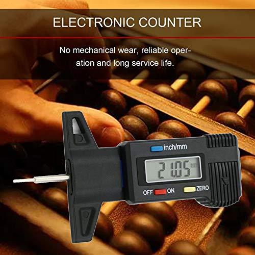 0-25.4mm 0.01 Medidor de Profundidad de Banda de Rodadura Digital LCD Neum/ático Neum/ático Rueda Profundidad de la Banda de Rodadura Medidor de Freno Herramientas de medici/ón Negro