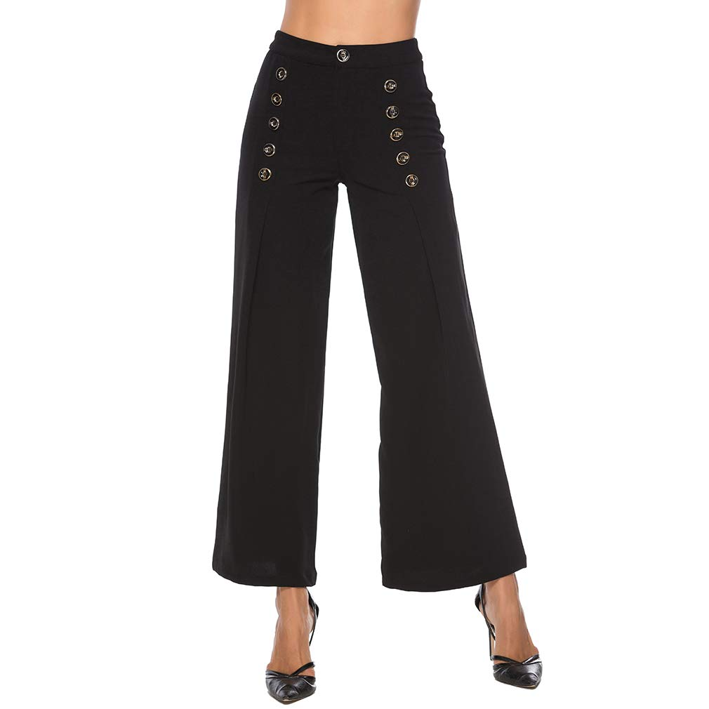 YouCY Women Loose Leg Pants Button High Waist Straight Trousers Long Pant Casual Trousers for Lady,Khaki,2XL
