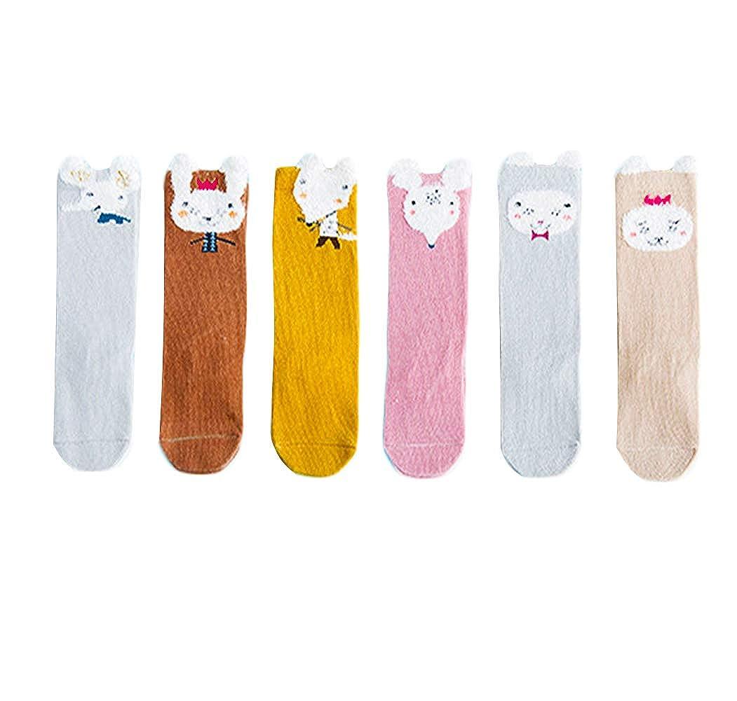 Bestjybt 6 Pairs Unisex Baby Girls Boys Kids Toddler Socks Knee High Socks Cat Fox Bear Animal Baby Stockings