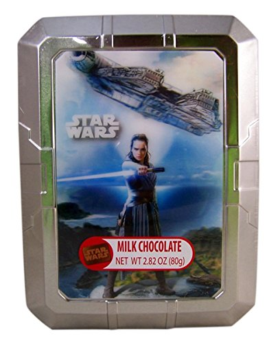 Star Wars Rey Metal Tin with Milk Chocolate Candy Bars, 2.82