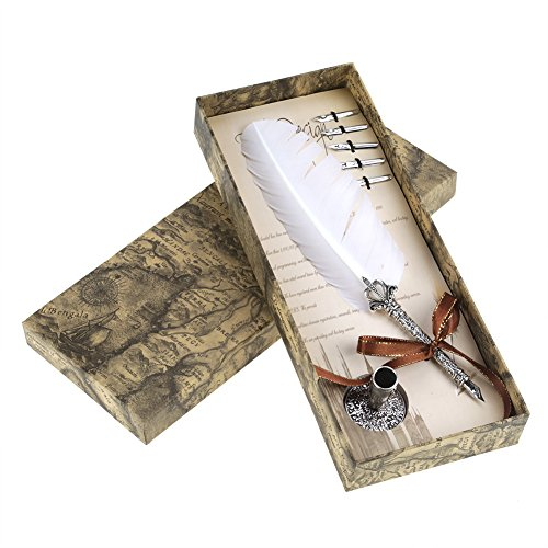 Quill Dip Pen Set - New Fashion Retro Quill Feather Dip Pen - Made of Natural Feather and Alloy - with 6 Dip Pen Nips - Lightweight, Very Comfortable to Hold(White)