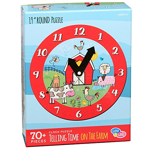 C.R. Gibson Farm Animals Clock and Jigsaw Puzzle for Kids, 70pc by C.R. Gibson