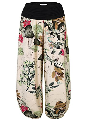BaiShengGT Yoga Pants for Women, Women's Floral Print Elastic Waist Harem Pants One Size Apricot-Floral - Floral Trip Day Shirt