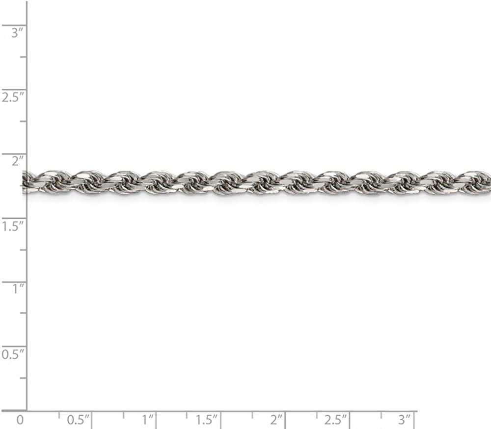 925 Sterling Silver 4.75mm Diamond-cut Rope Chain 24 Inch