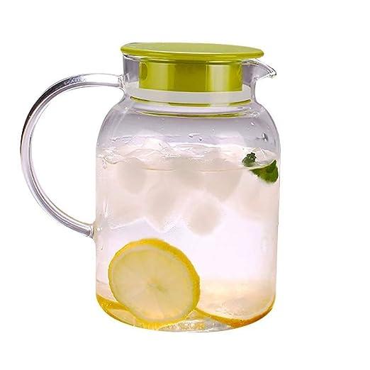 BB&ONE Jarra de vidrio con tapa, botella de agua de cristal, fácil ...