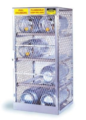 - JUSTRITE MANUFACTURING 23002 Aluminum Cylinder Locker for Safe Storage of 6 Horizontal LPG Cylinders, 2 Manual Door, 30