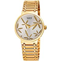 Burgi Women's BUR190YG Sparkling Gold Flower Accented SIlver Dial Yellow Gold Stainless Steel Bracelet Watch