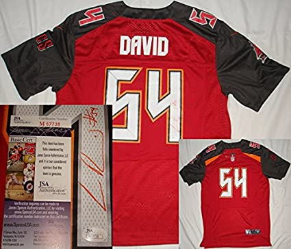 9e5fffb60ed Image Unavailable. Image not available for. Color  LaVonte David Hand Signed    Autographed Tampa Bay Buccaneers   Bucs Red Jersey - JSA M67738
