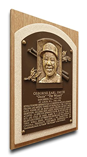 MLB St. Louis Cardinals Ozzie Smith Baseball Hall of Fame Plaque on Canvas, Medium, Brown