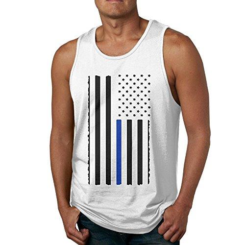 Delgada línea azul bandera americana para hombre Casual sin mangas Tank parte superior verano de deporte gimnasio chaleco,...