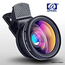 BPSMedia® Apexel 0.45X Wide Angle Lens + 12.5X Macro Lens, 2 in 1 Clip On Cell Phone Camera Lens Kit for iPhone 7/ 6s / 6 Plus / 5s/ SE, Samsung Galaxy & More (No Dark Edges)