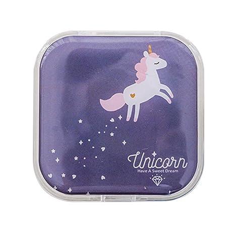 LAMEIDA Estuche de Lentillas Portátil Caja de Lentes de Contacto Cuadrado con Palo Pinzas Botellas Espejo Set de lentes de contacto para viaje con Patrón de unicornio y conejo (Azul marino): Amazon.es: