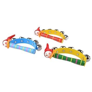 Baby Kid Hölzernes Musikinstrument Spielzeug Rassel Jingle Hand Bell Geschenk