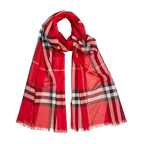 Burberry Lightweight Check Wool and Silk Scarf- Bright Military Red