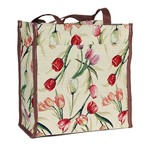 Signare Womens Fashion Tapestry Shopper Bag Shoulder Bag Floral Tulip Design (Floral Shopper)