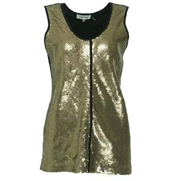 Calvin Klein Womens Camel Sequin Front Black Knit Back Scoop Tank Top M
