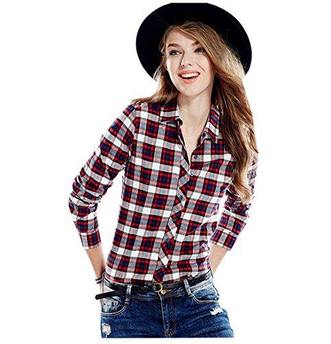 Manche Revers Chemise fille 13 Simple Foncé Carreaux Outwear Acvip Rouge En Casuel Femmes Couleurs Coton Longue Blouse Étudiante À 0FwzqZ