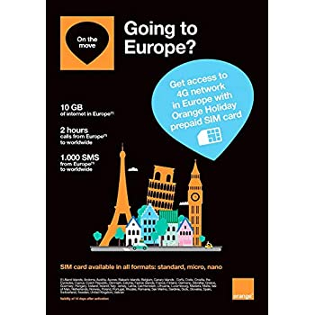 orange holiday europe prepaid sim card 10gb internet data in 4glte - Prepaid Sim Card Europe Data
