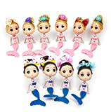JJMG New 10 Mermaid Princess Doll Pack Cake Toppers Ocean Princess for Cake Decoration (Pink & Blue)