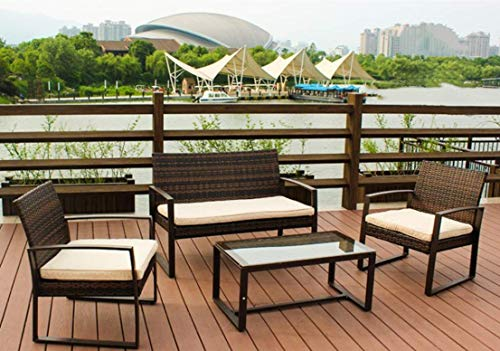 RAFAEL DOLCE 4 PC Rattan Patio Furniture Set Garden Lawn Pool Backyard Outdoor Sofa Wicker Conversation Set with Weather Resistant Cushions and Tempered Glass ()