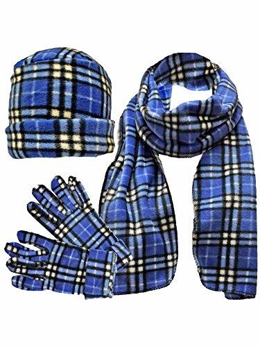 灌漑投票放棄ブルー&ホワイトチェック柄フリース3 Piece帽子スカーフ&グローブセット