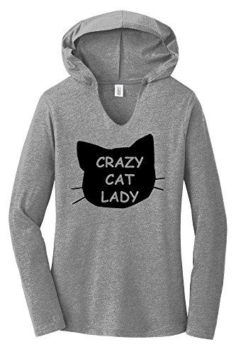 Comical Shirt Ladies Crazy Cat Lady Funny Cat Lover Gift Shirt Grey Frost (Crazy Cat Lady Shirt)