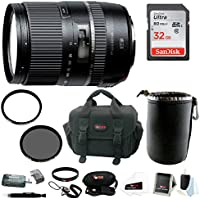 Tamron 16-300mm Macro Lens with Hood for Canon and 32GB SDHC Accessory Bundle