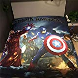 Kids Cartoon Spider-Man Bedding Sets - Jameswish 3D Batman Captain America Iron-Man Transformers Bumblebee Superman 4-Piece Bed Sheet Set 100%Cotton 1Duvet Cover 1Flat Sheet 2Pillowshams
