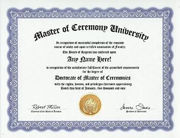 com master of ceremony mc degree custom gag diploma  master of ceremony mc degree custom gag diploma doctorate certificate funny customized joke gift