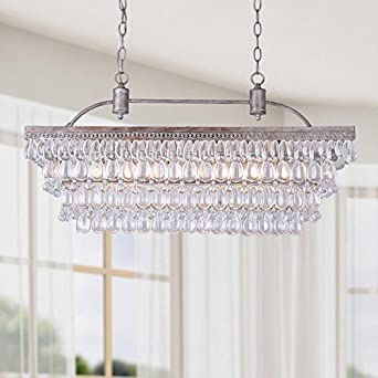Antique silver 6 light rectangular glass droplets chandelier antique silver 6 light rectangular glass droplets chandelier mozeypictures