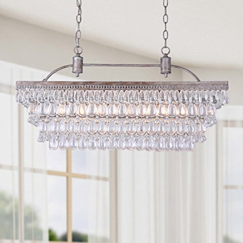 Accents Six Light Chandelier (Antique Silver 6-light Rectangular Glass Droplets Chandelier)
