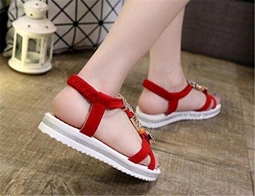 NEWZCERS Cuento bohemio lindo del verano con las sandalias planas para las mujeres Rojo
