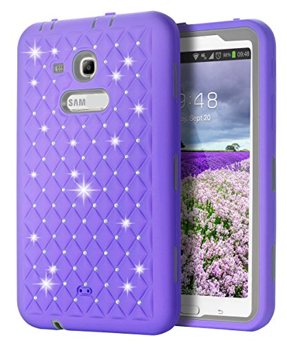 SKYLMW Fashion Hybrid Protective Heavy Duty Rugged Shockproof - Galaxy 3 Tablet Case 7 Inch Bling