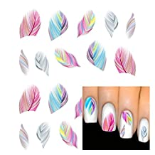 Fashion gallery 10PCS Design feather Beauty Accessories Nail Art Water Transfer Decal Sticker Decorations Tips
