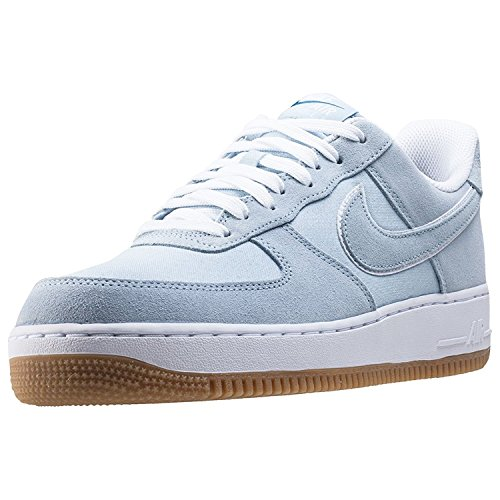 (Nike Mens Air Force 1 Low Lt Armory Blue/Lt Armory Blue/White/Gum Lt Brown Leather Basketball Shoes 9.5 D)